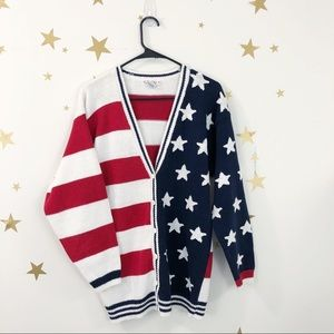Talbots USA Flag Patriotic Cardigan Sweater XL